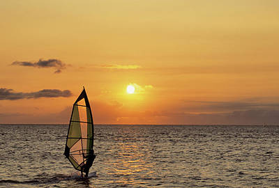 Usa, Maui, Hawaii, Sunset, Windsurfing Poster by Gerry Reynolds