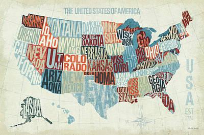 Usa Modern Blue Poster by Michael Mullan