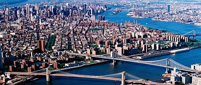 Usa, New York, Brooklyn Bridge, Aerial Poster