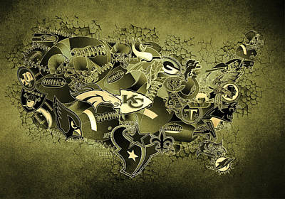 Usa Nfl Map Collage 15 Poster