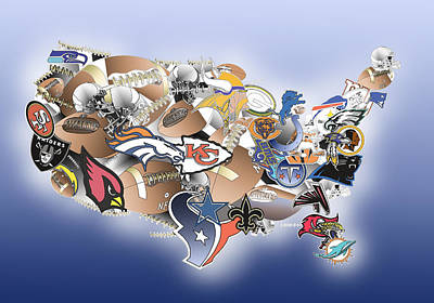 Usa Nfl Map Collage Poster