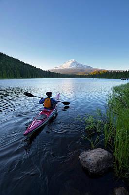 Usa, Oregon A Woman In A Sea Kayak Poster