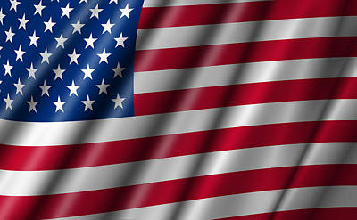 Usa Stars And Stripes Flying American Flag Poster