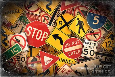 Usa Traffic Signs Poster by Carsten Reisinger