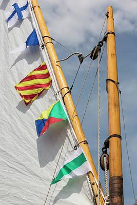 Usa, Washington Boat Sail And Flags Poster