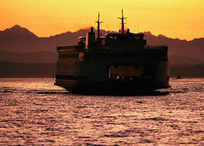 Usa, Washington, Ferry Boat At Sunset Poster by David Barnes
