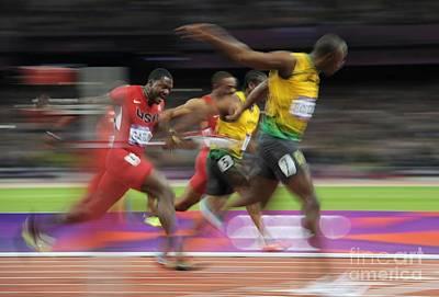 Usain Bolt Winning 100m Gold, London Poster by Ria Novosti
