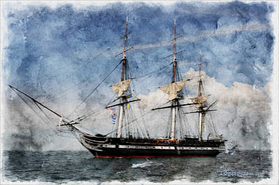 Uss Constitution On Canvas - Featured In 'manufactured Objects' Group Poster