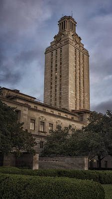 University Of Texas Tower Dawn Poster by Joan Carroll
