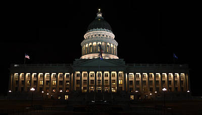 Poster featuring the photograph Utah State Capitol Front by David Andersen