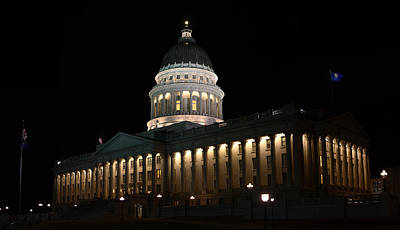 Poster featuring the photograph Utah State Capitol East by David Andersen