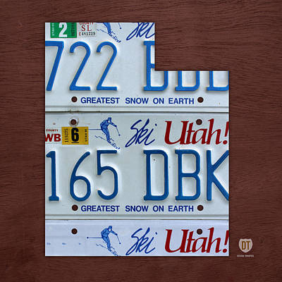 Utah State License Plate Map Poster by Design Turnpike
