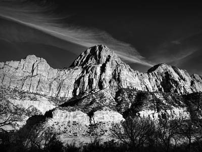 Utah - Zion National Park 001 Bw Poster by Lance Vaughn