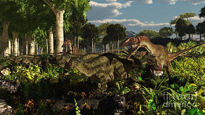 Utahraptors Hunting The Early Poster by Arthur Dorety