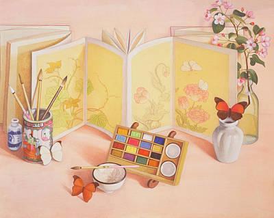 Utamaros Garden Wc On Paper Poster by Tomar Levine