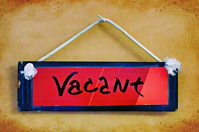 Vacant Poster by Nikolyn McDonald