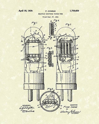 Vacuum Tube 1929 Patent Art Poster by Prior Art Design