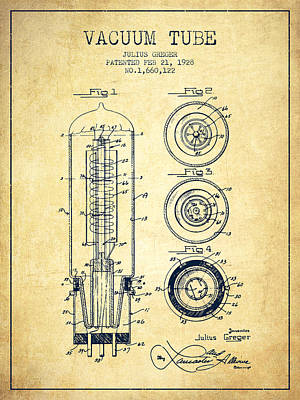 Vacuum Tube Patent From 1928 - Vintage Poster by Aged Pixel
