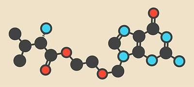 Valaciclovir Herpes Drug Molecule Poster by Molekuul