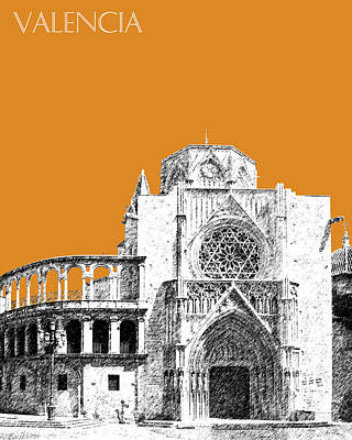 Valencia Skyline Valencia Cathedral - Dark Orange Poster
