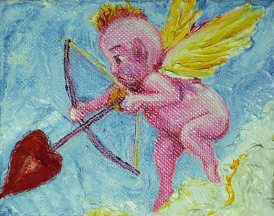 Valentine's Day Cupid And Heart Arrow Poster by Paris Wyatt Llanso