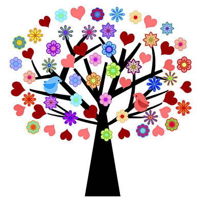Valentines Day Tree With Love Birds Hearts Flowers Poster