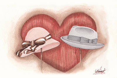 Valentine's Day's Two Hats Poster by Monica Carmona