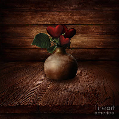 Valentines Design - Heart Flowers Poster by Mythja  Photography