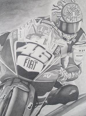 Valentino Rossi Portrait Poster by Lupe Gonzalez