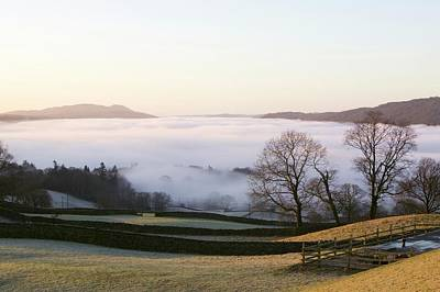 Valley Mist Over Windermere At Dawn Poster by Ashley Cooper