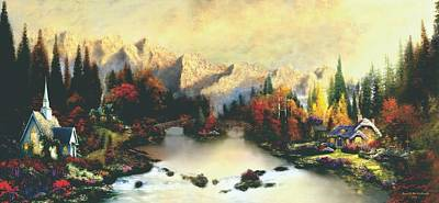 Valley Of Life  Thomas Kinkade Look A Like Poster by Jessie J De La Portillo
