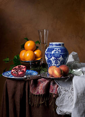 Poster featuring the photograph Van Beijeren - Banquet With Chinese Porcelain And Fruits by Levin Rodriguez