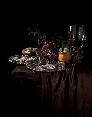 Poster featuring the photograph Van Beijeren -still Life With Roemer-silverware And Oysters by Levin Rodriguez