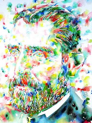Van Gogh  Watercolor Portrait Poster by Fabrizio Cassetta