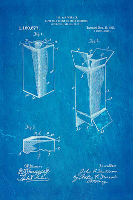 Van Wormer Milk Carton Patent Art 1915 Blueprint Poster by Ian Monk