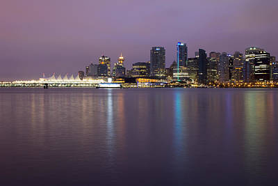 Vancouver Bc City Skyline At Dawn Poster by JPLDesigns