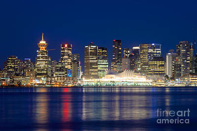 Vancouver Bc Evening Skyline Poster by Terry Elniski