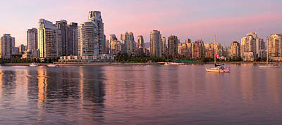 Poster featuring the photograph Vancouver Bc Skyline Along False Creek At Dusk by JPLDesigns