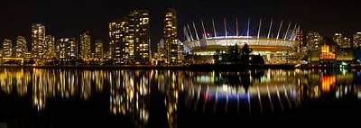 Poster featuring the photograph Vancouver Bc Skyline Along False Creek At Night by JPLDesigns