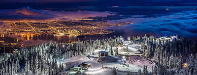 Vancouver City Panorama From Grouse Mountain  Poster