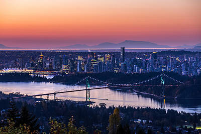 Vancouver City Sunrise Poster by Pierre Leclerc Photography
