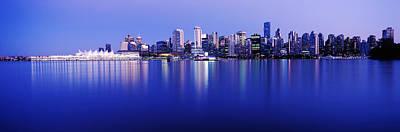 Vancouver Skyline At Night, British Poster