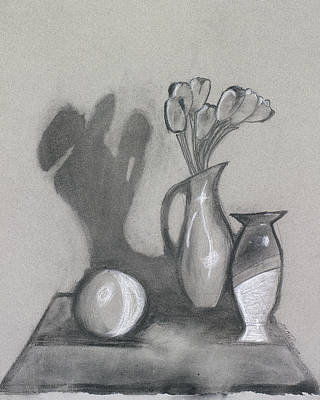 Poster featuring the mixed media Vanishing Vase by Artists With Autism Inc
