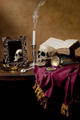 Poster featuring the photograph Vanitas - Skull-mirror-books And Candlestick by Levin Rodriguez