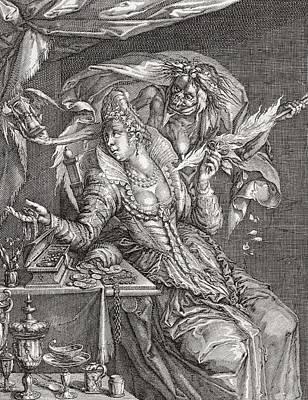 Vanitas With Death And A Maiden, After Jacob De Gheyn.  From Illustrierte Sittengeschichte Vom Poster
