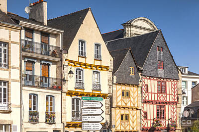 Vannes Brittany France Half Timbered Buildings Poster