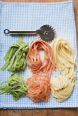 Various Types Of Home-made Pasta With Pastry Wheel Poster