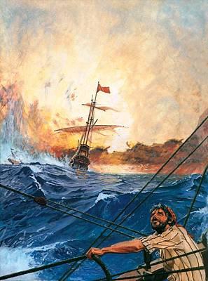 Vasco Da Gama's Ships Rounding The Cape Poster