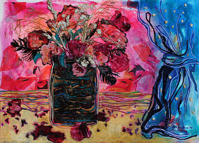 Vase And Blue Curtain Poster by Diane Fine