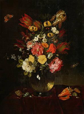 Vase And Flowers, 1655 Poster by Adriaen Pietersz van de Venne